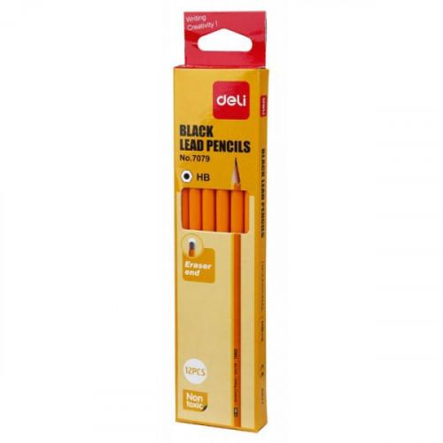 Карандаш Deli HB с ластиком корпус желтый 12 штук в упаковке