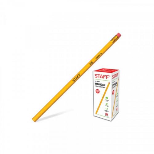 Карандаш STAFF НВ, желтый корпус, с ластиком, незаточенный