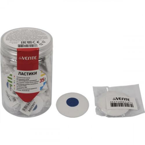 "Ластик ""deVENTE. Core"" синтетический каучук, круглый белый, 37x37x10 мм, dust-free, с пластиковым держателем, штрих код"