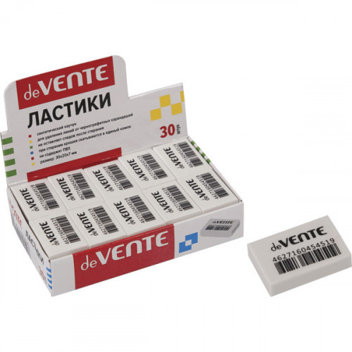Ластик 30x20x7 мм, синтетический каучук, белый, dust-free, deVENTE Box
