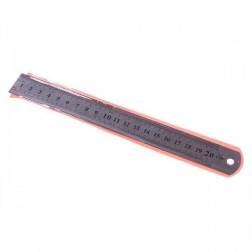Линейка 20 см, металл, толщина 0,3 мм, в пластиковом чехле, WORKMATE U-Save