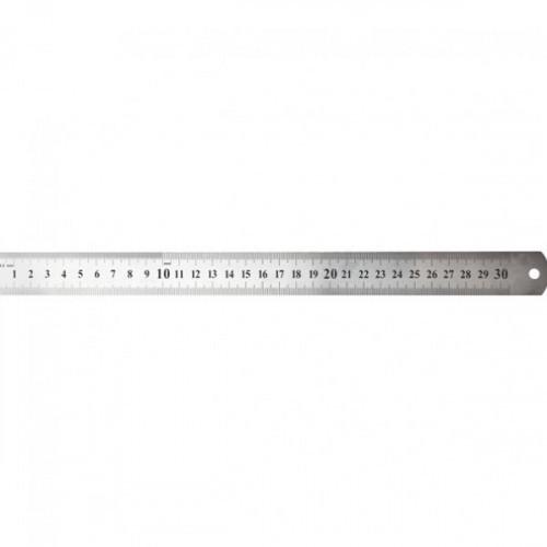 Линейка 30 см, металл, две шкалы, толщина 0,3 мм, в пластиковом чехле, WORKMATE U-Save