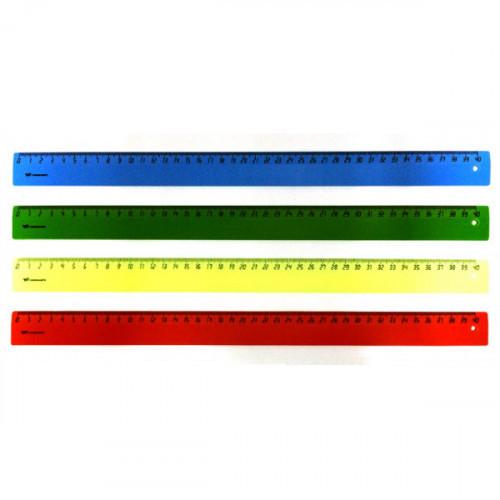 Линейка 40 см, пластик, 4 цвета/флюоресцентная/не прозрачная, WORKMATE
