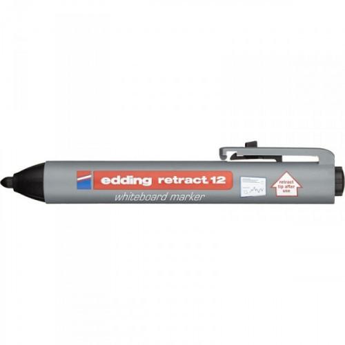 Маркер для досок Edding retract 12/1 автоматический черный 1,5-3 мм
