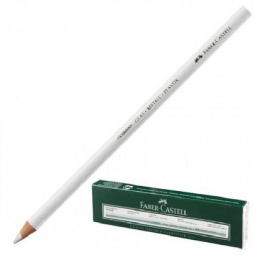 Карандаш перманентный FABER-CASTELL, 1 шт., для гладких поверхностей (стекло, металл), водоустойчивый, белый, 115901