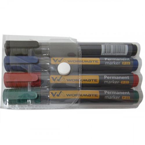 Набор маркеров перманентных, 4 цвета, наконечник пулевидный, толщина линии 2-4мм, 4 шт/упак, WORKMATE Simple