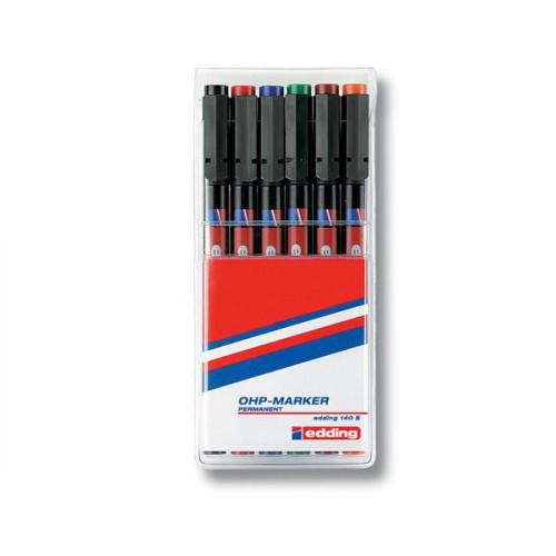 Набор маркеров для пленок и глянцевых поверхностей Edding E-140 S/6 6 цветов (толщина линии 0.3 мм)