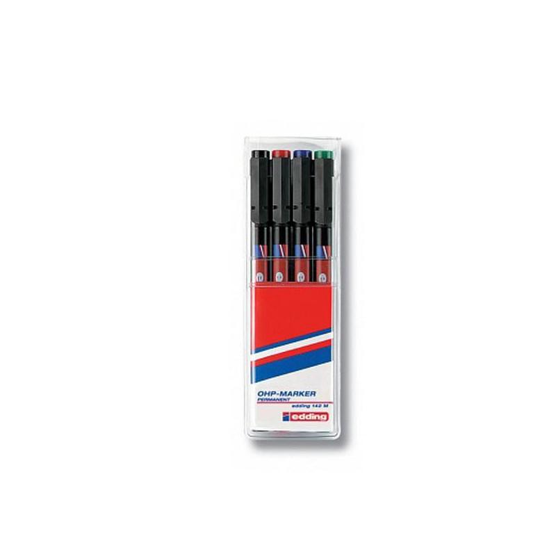Набор маркеров для пленок и глянцевых поверхностей Edding E-142 M/4 4 цвета (толщина линии 1 мм)