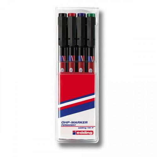 Набор маркеров для пленок и глянцевых поверхностей Edding E-140 S/4 4 цвета (толщина линии 0.3 мм)
