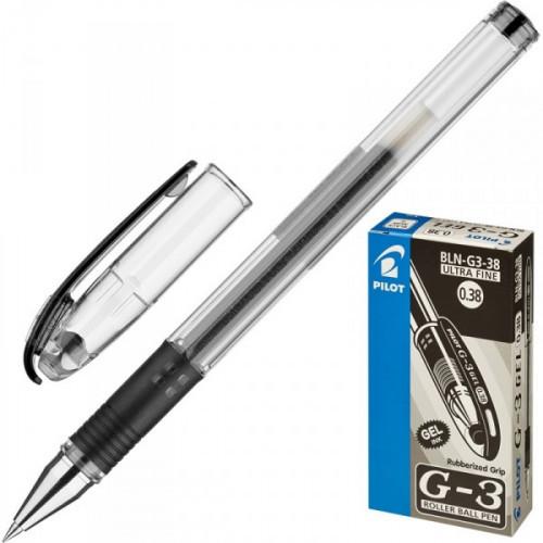 Ручка гелевая Pilot BLN-G3-38 черная с резиновой манжеткой с толщиной линии 0,2 мм