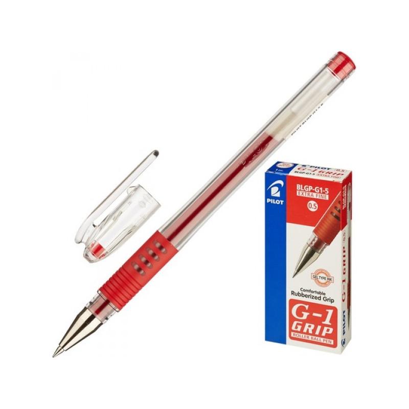 Ручка гелевая Pilot BLGP-G1-5 красная с резиновой манжеткой с толщиной линии 0,3 мм
