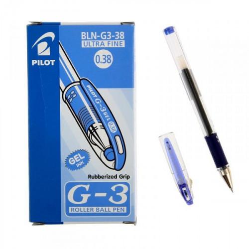 Ручка гелевая Pilot BLN-G3-38 синяя с резиновой манжеткой с толщиной линии 0,2 мм