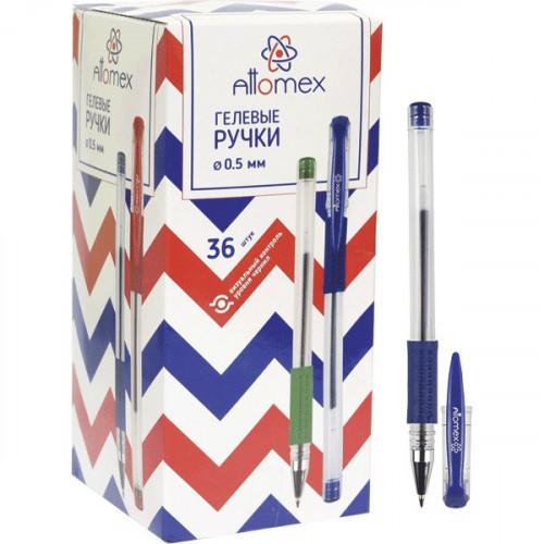 Ручка гелевая синяя, манжетка, 0,3 мм, 0,5 мм, прозрачный, Attomex