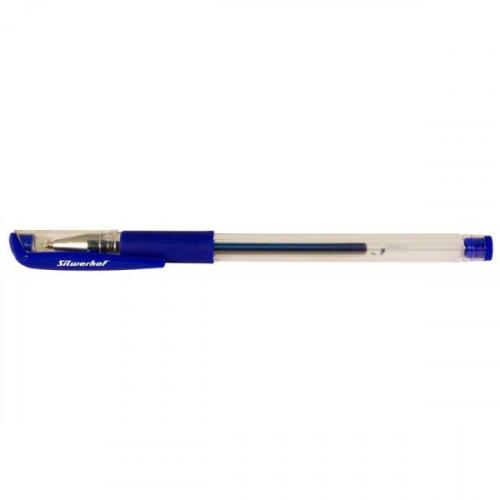 Ручка гелевая синяя, манжетка, 0.7мм, Silwerhof URGENT0