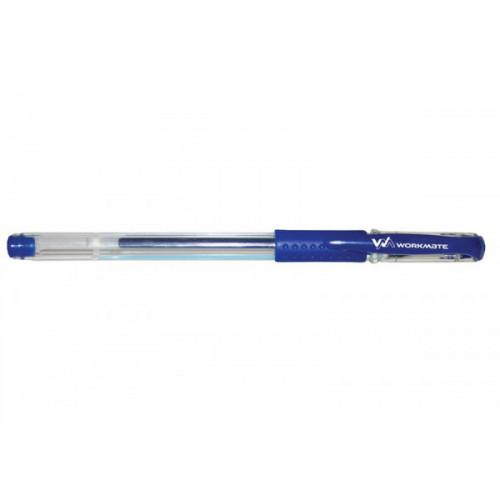 Ручка гелевая с резиновой манжеткой, 0,5 мм, синяя, WORKMATE U-Save