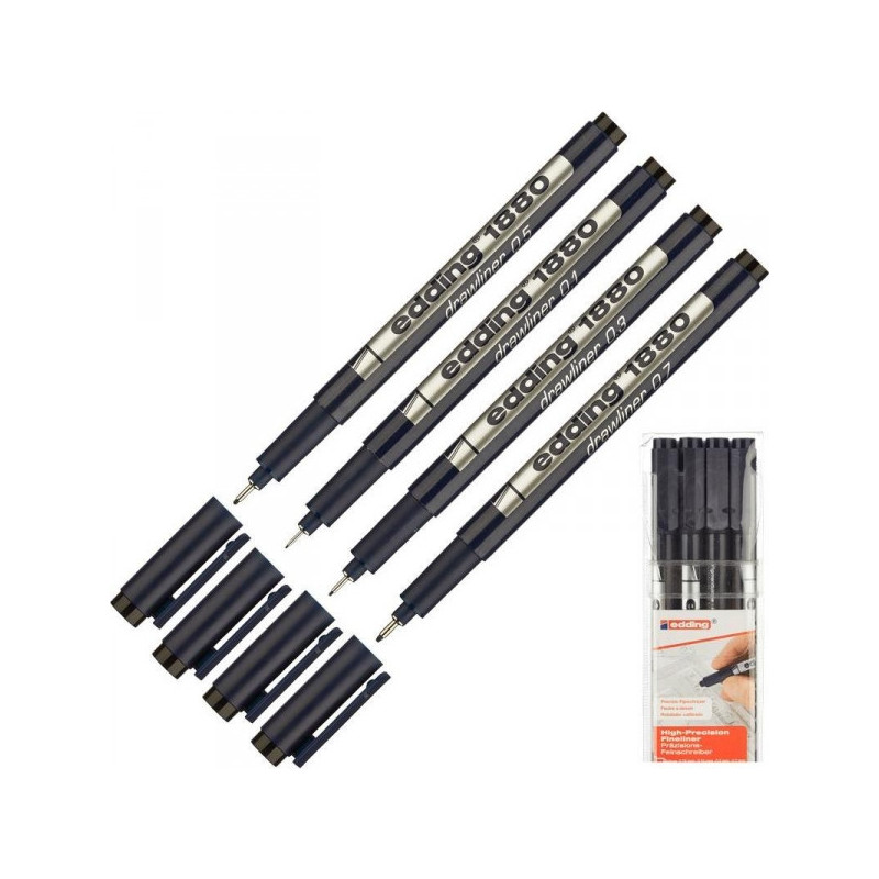 Набор линеров Edding черные толщина линии 0.25 0.35 0.5 0.7 мм