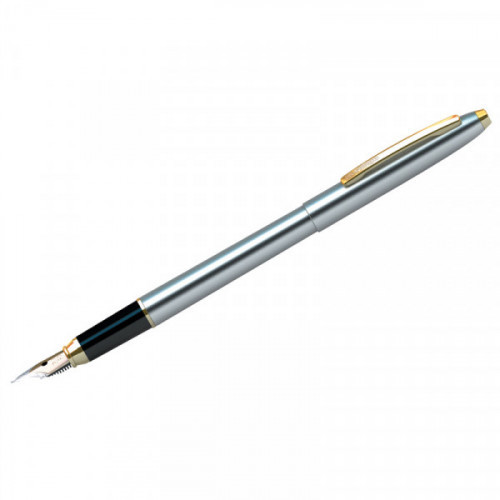 """Ручка перьевая Berlingo """"Golden Prestige"""" синяя, 0,8мм, корпус хром/золото, пластик. футляр"""