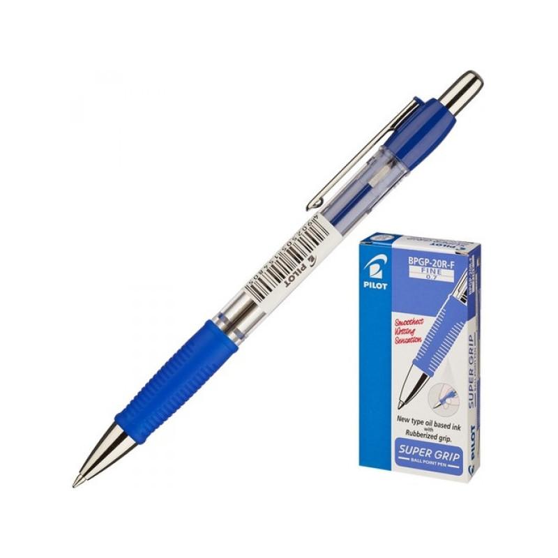 Ручка шариковая автоматическая Pilot BPGP-20R-F синяя с резиновой манжеткой с толщиной линии 0.32 мм