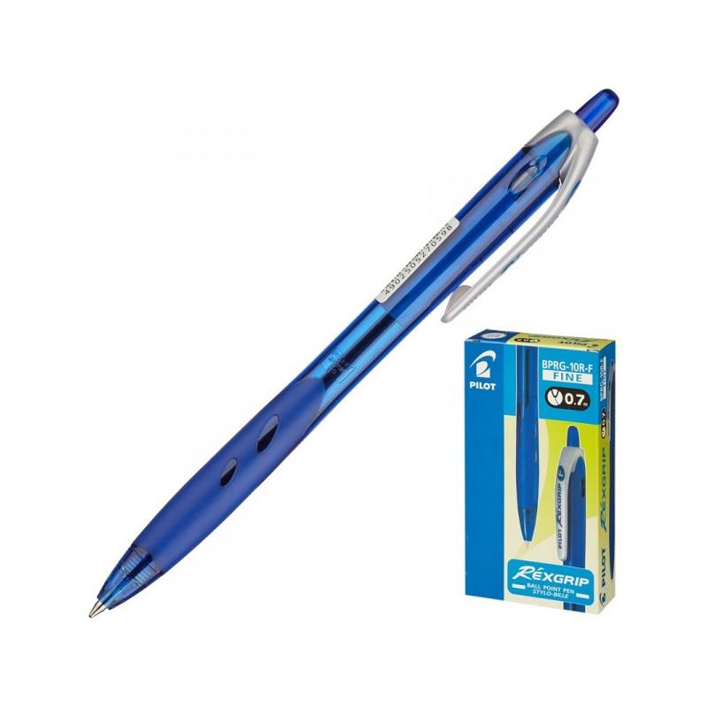 Ручка шариковая автоматическая Pilot BPRG-10R-F Rex Grip синяя с резиновой манжеткой с толщиной линии 0.32 мм