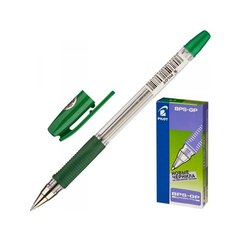 Ручка шариковая Pilot BPS-GP-F зеленая с резиновой манжеткой с толщиной линии 0.32 мм