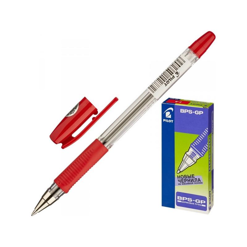 Ручка шариковая Pilot BPS-GP-F красная с резиновой манжеткой с толщиной линии 0.32 мм