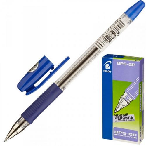 Ручка шариковая Pilot BPS-GP-F синяя с резиновой манжеткой с толщиной линии 0.32 мм