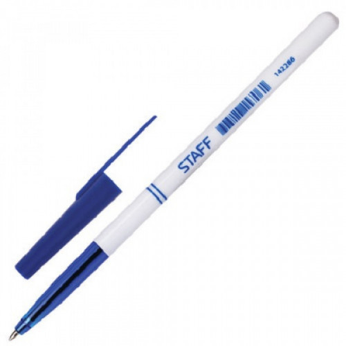 Ручка шариковая синяя, 0,35 мм, 0,7 мм, белый, STAFF Офисная