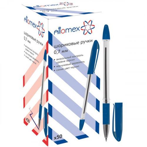 Ручка шариковая синяя, манжетка, 0,3 мм, 0,7 мм, прозрачный, Attomex
