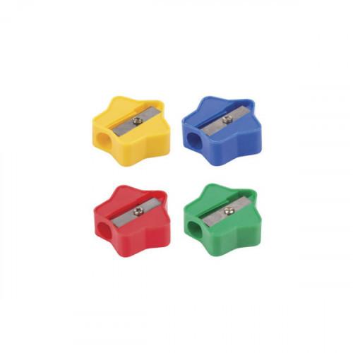 Точилка ПИФАГОР Звездочка, пластиковая, цвет корпуса ассорти