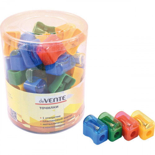 Точилка deVENTE 1 отверстие, с контейнером, пластмассовая, прямоугольная