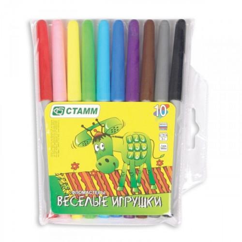 Набор фломастеров Стамм Веселые игрушки 10 цветов