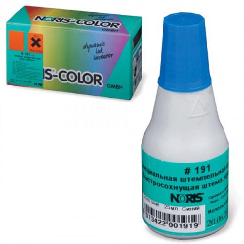 Краска штемпельная универсальная Noris 191А синяя для глянцевой бумаги металла пластика 25 мл