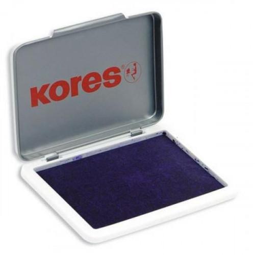 Подушка штемпельная настольная КORES 71555 фиолетовая 7х11см металлическая