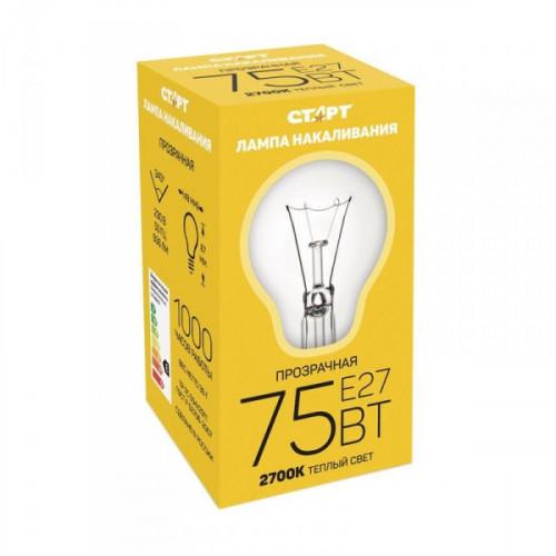 Лампа накаливания Старт 75 Вт цоколь E27 теплый свет