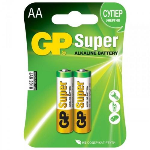 Батарейки GP Super пальчиковые AA LR6 2 штуки в упаковке