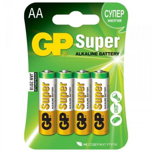 Батарейки GP Super пальчиковые AA LR6 4 штуки в упаковке
