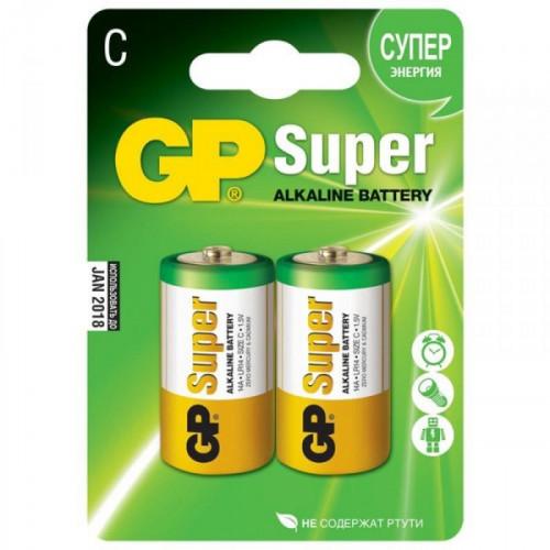 Батарейки GP Super средние C LR14 2 штуки в упаковке