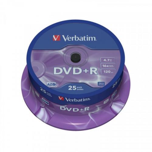 Носители информации DVD+R VERBATIM 4,7GB 16х Cake 25 штук