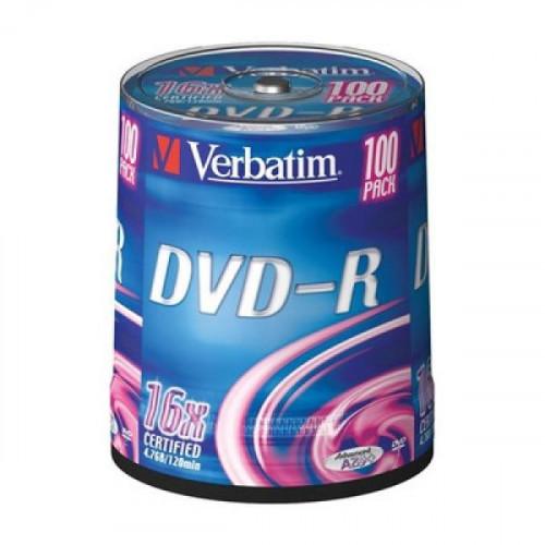 Носители информации DVD-R VERBATIM 4,7GB 16х Cake 100 штук