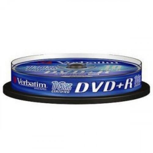 Носители информации Verbatim DVD+R 4,7Gb 16х Cake 10 штук