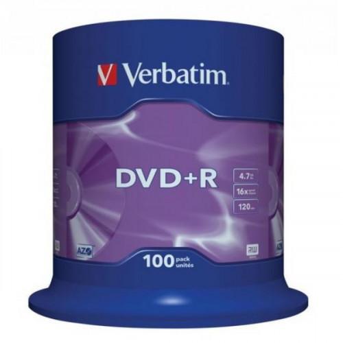 Носители информации Verbatim DVD+R 4,7Gb 16х Cake 100 штук