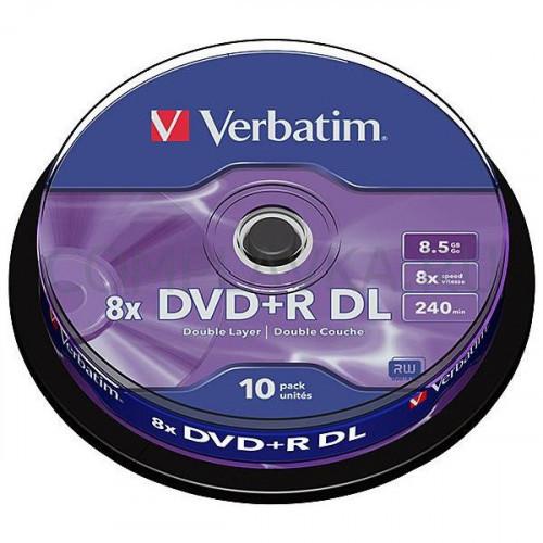 Носители информации Verbatim DVD+R DL 8,5Gb 8х Cake 10 штук