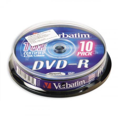 Носители информации Verbatim DVD-R 4,7Gb 16х Cake 10 штук
