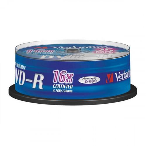 Носители информации Verbatim DVD-R 4,7Gb 16х Cake 25 штук