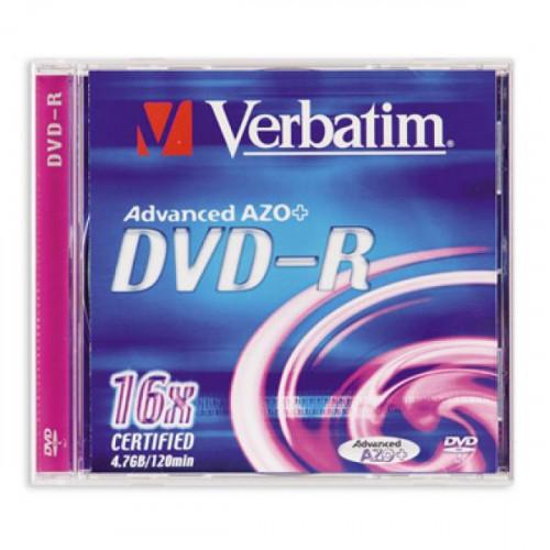 Носители информации Verbatim DVD-R 4,7Gb 16х Jewel 1 штука