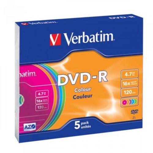 Носители информации Verbatim DVD-R 4,7Gb 16х Slim 5 штук цветные