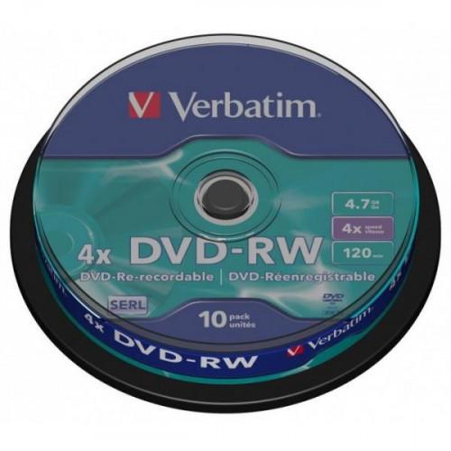Носители информации Verbatim DVD-RW 4,7Gb 4х Cake 10 штук