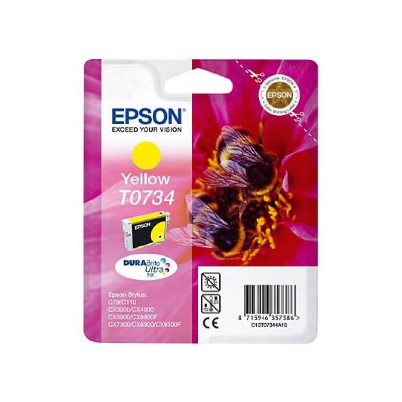 Картридж струйный Epson T0734 C13T10544A10 желтый оригинальный