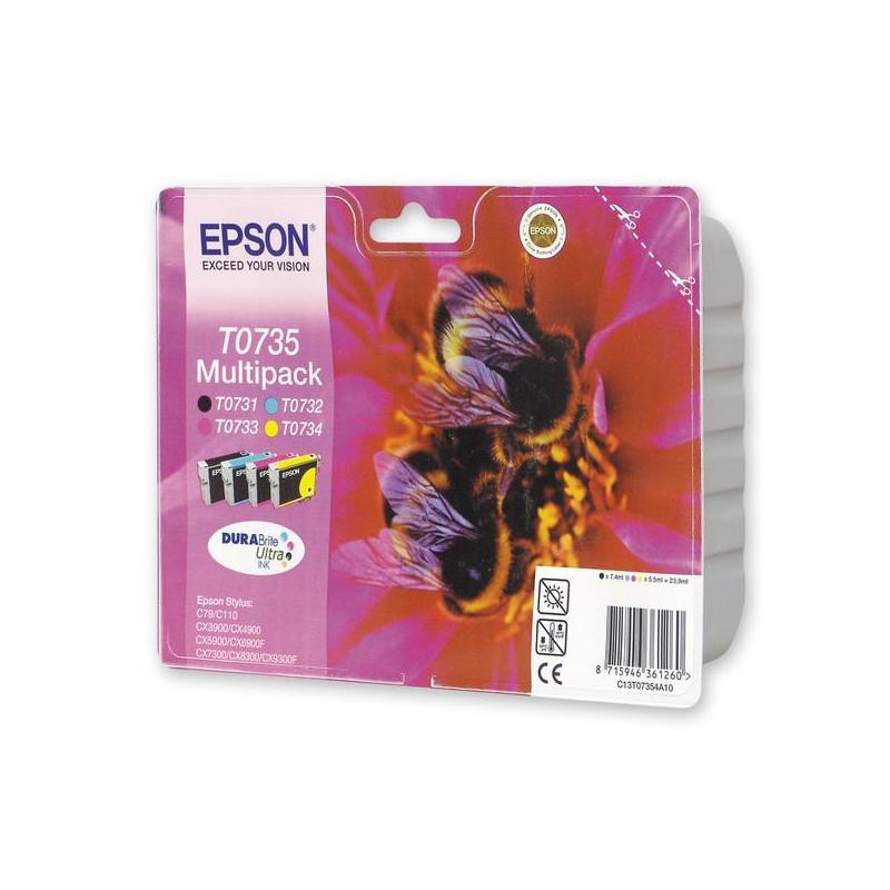 Набор картриджей струйных Epson T0735 C13T10554A10/EPT07354 CMYK 4 цвета оригинальные