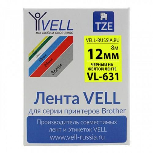 Лента Vell VL-S631 (Brother TZE-S631, 12мм, черный на желтом) для PT 1010/1280/D200/H105/E100/ D600/E300/2700/P700/E550/970